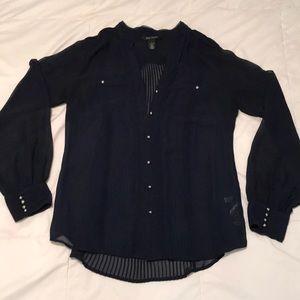 White House Black Market sheer navy dress shirt